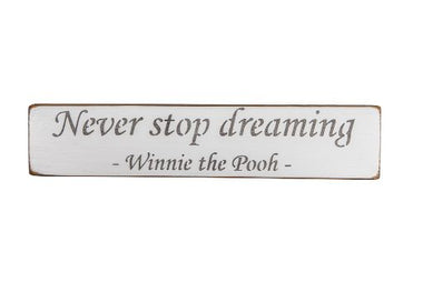 Never stop dreaming -  Winnie the Pooh - 45cm wood sign