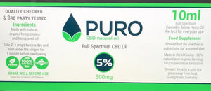 Natural CBD Oil - 500mg (5%) - 10ML, 30Ml, 50Ml Available