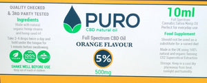Natural CBD Oil - 500mg (5%) - Orange Flavour - 10ML, 30Ml, 50Ml Available