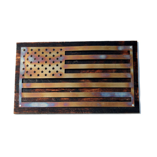 Thermal Oxidized Stainless Steel American Flag