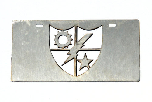 Stainless Steel Ranger Distinguished Unit Insignia (DUI) License Plate