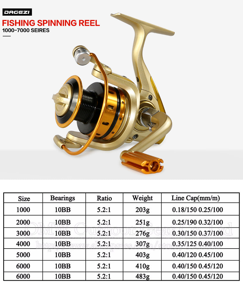 Metal Front Drag Spinning Fishing Reel