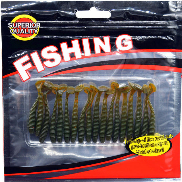 20 pcs/pack Fishing Lure Soft Bait 50mm/0.7g T Tail