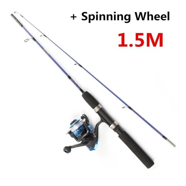 Ice Fishing Rod 1.2/1.5 Meters Portable Rod WinterFishing Rod with Spinning Wheel