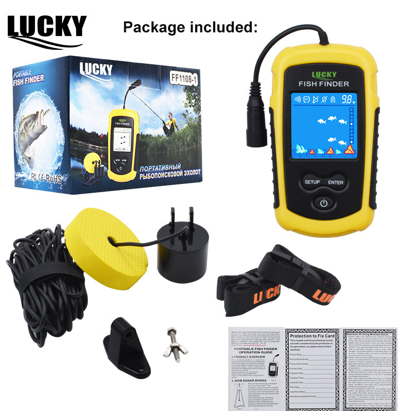 LUCKY Color Display Fish Finder Echo Sounder 100M Sonar LCD