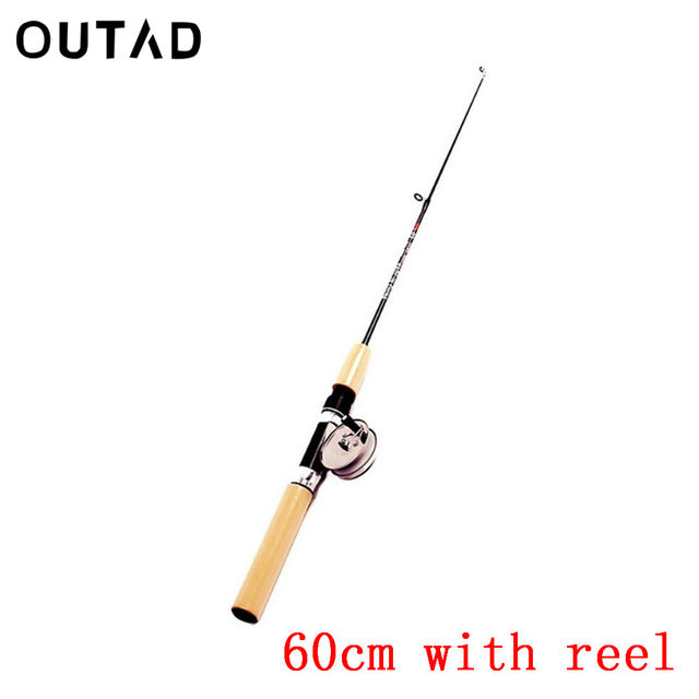 60CM Portable Pocket Winter Ice Fishing Fish Rod Mini Tackle Spinning Casting