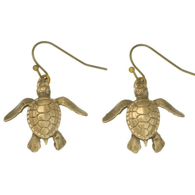 New Bronze Sea Turtle Hatchling Earrings, Jewelry, Big Blue, [Big_Blue_By_Roland_St_John]