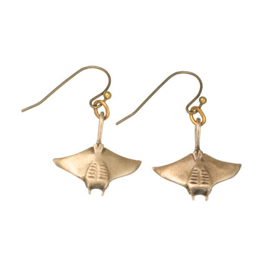 New Realistic Bronze Manta Ray Earrings, jewelry, Big Blue, [Big_Blue_By_Roland_St_John]