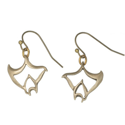 "New ""Big Ray"" Bronze Manta Ray Drop Earrings, Jewelry, Big Blue, [Big_Blue_By_Roland_St_John]"