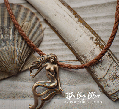 """Lorelei"" Mermaid Ocean Theme Sea Life Solid Bronze Pendant Necklace, Jewelry, Big Blue, [Big_Blue_By_Roland_St_John]"