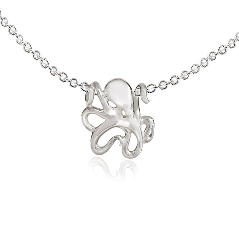 Mini Leggs Octopus Pendant with a Sterling Chain, jewelry, vendor-unknown, Big Blue
