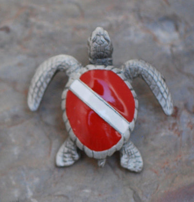 Dive Turtle Pewter Pin, Jewelry, Big Blue, [Big_Blue_By_Roland_St_John]