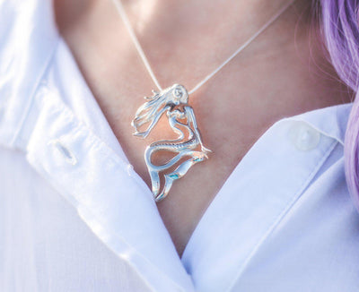 """Lorelei"" Mermaid Solid Sterling Silver Pendant, Jewelry, Big Blue, [Big_Blue_By_Roland_St_John]"
