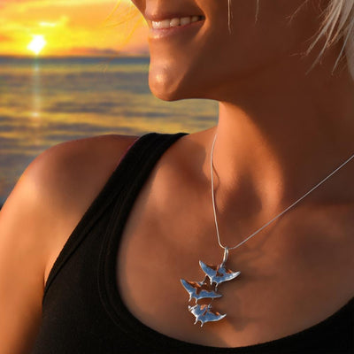"""Ocean in Motion"" Manta Rays Solid Sterling Silver Pendant, Jewelry, Big Blue, [Big_Blue_By_Roland_St_John]"