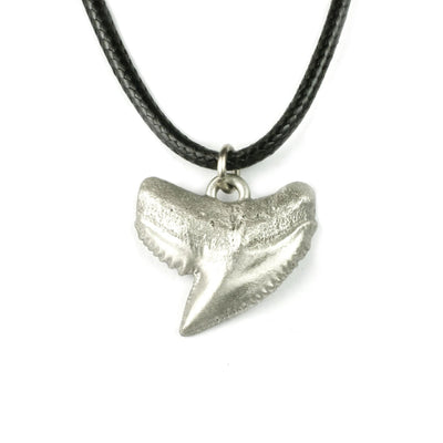 """Emma"" Realistic Shark Tooth Sea Life Ocean Theme Pewter Pendant Necklace, Jewelry, Big Blue, [Big_Blue_By_Roland_St_John]"