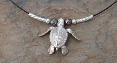 Sterling Hatchling Sea Turtle on Cable Wire, Jewelry, Big Blue, [Big_Blue_By_Roland_St_John]