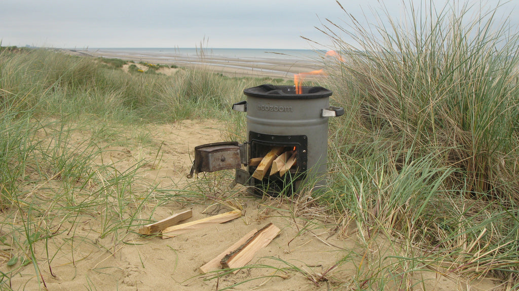 EcoZoom Versa - driftwood cooking on the sand dunes