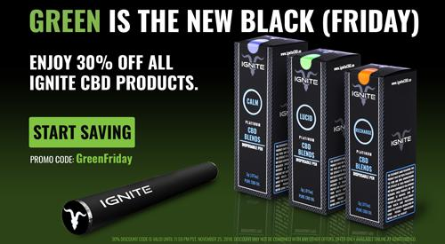 Ignite Announces That 'Green Is The New Black (Friday)' With Holiday E-Commerce Promotions On All CBD Products