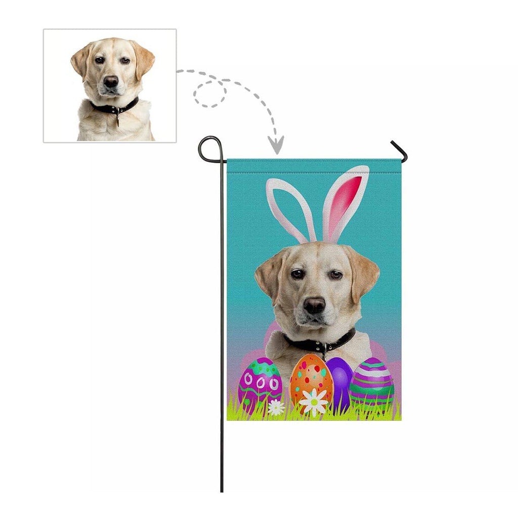 Custom Dog Face Easter Eggs Garden Flag
