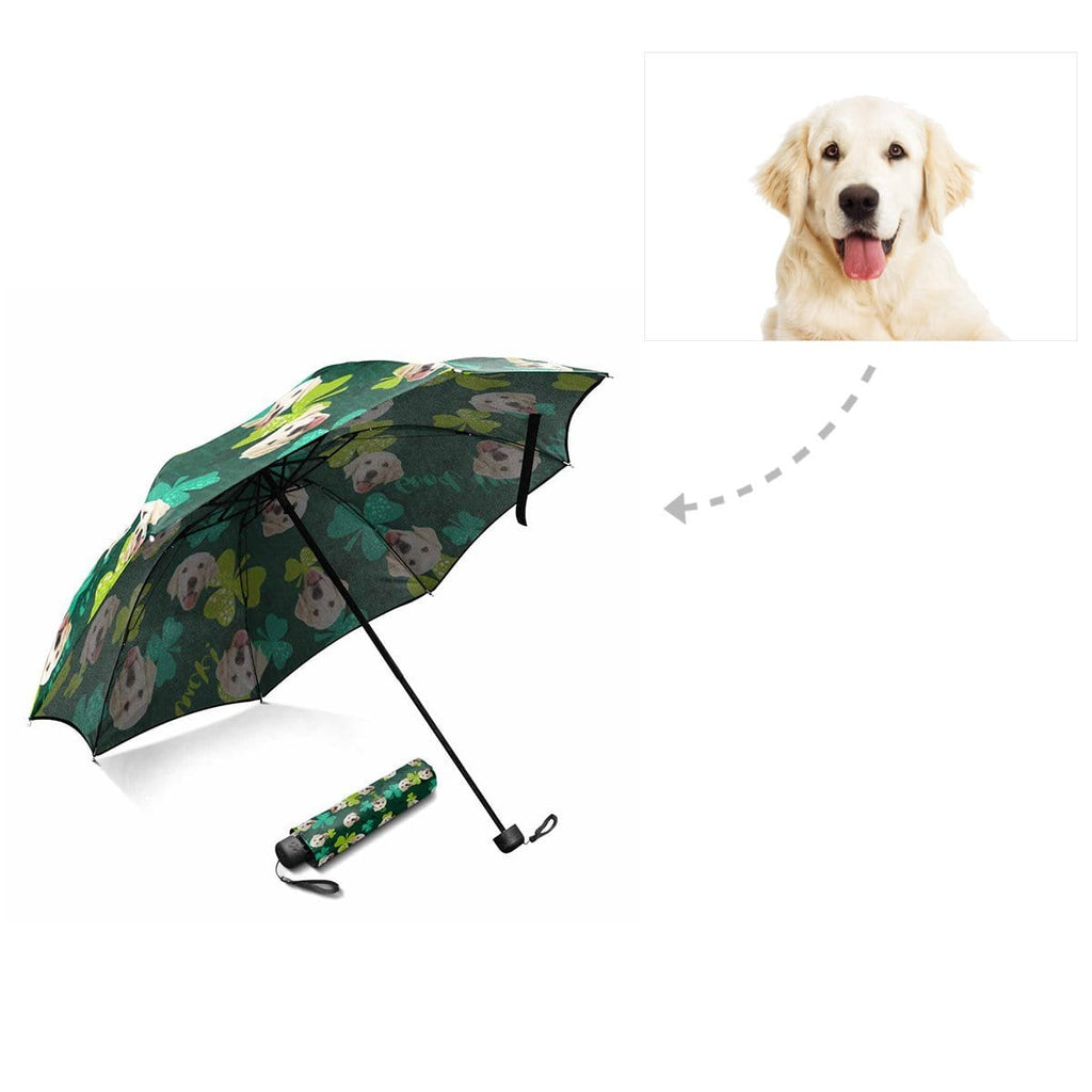 Custom Dog St. Patrick Shamrock Foldable Umbrella