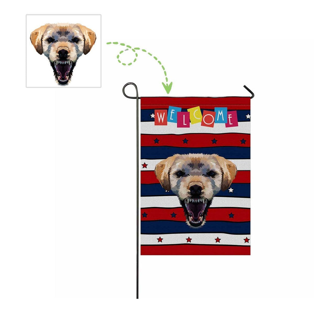 Custom Dog Face Star Stripe Garden Flag