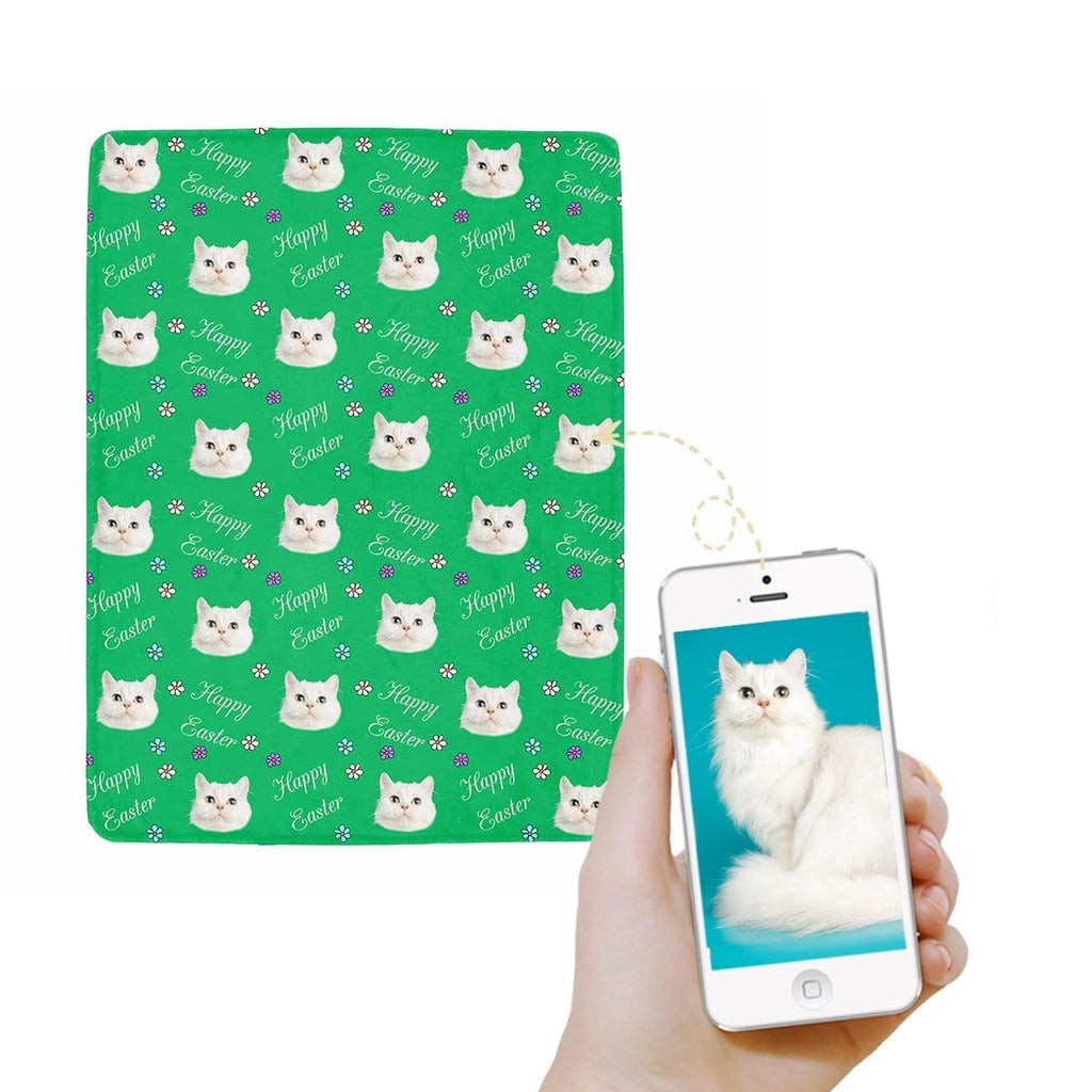 Custom Cat Face Easter Day Ultra-Soft Micro Fleece Blanket