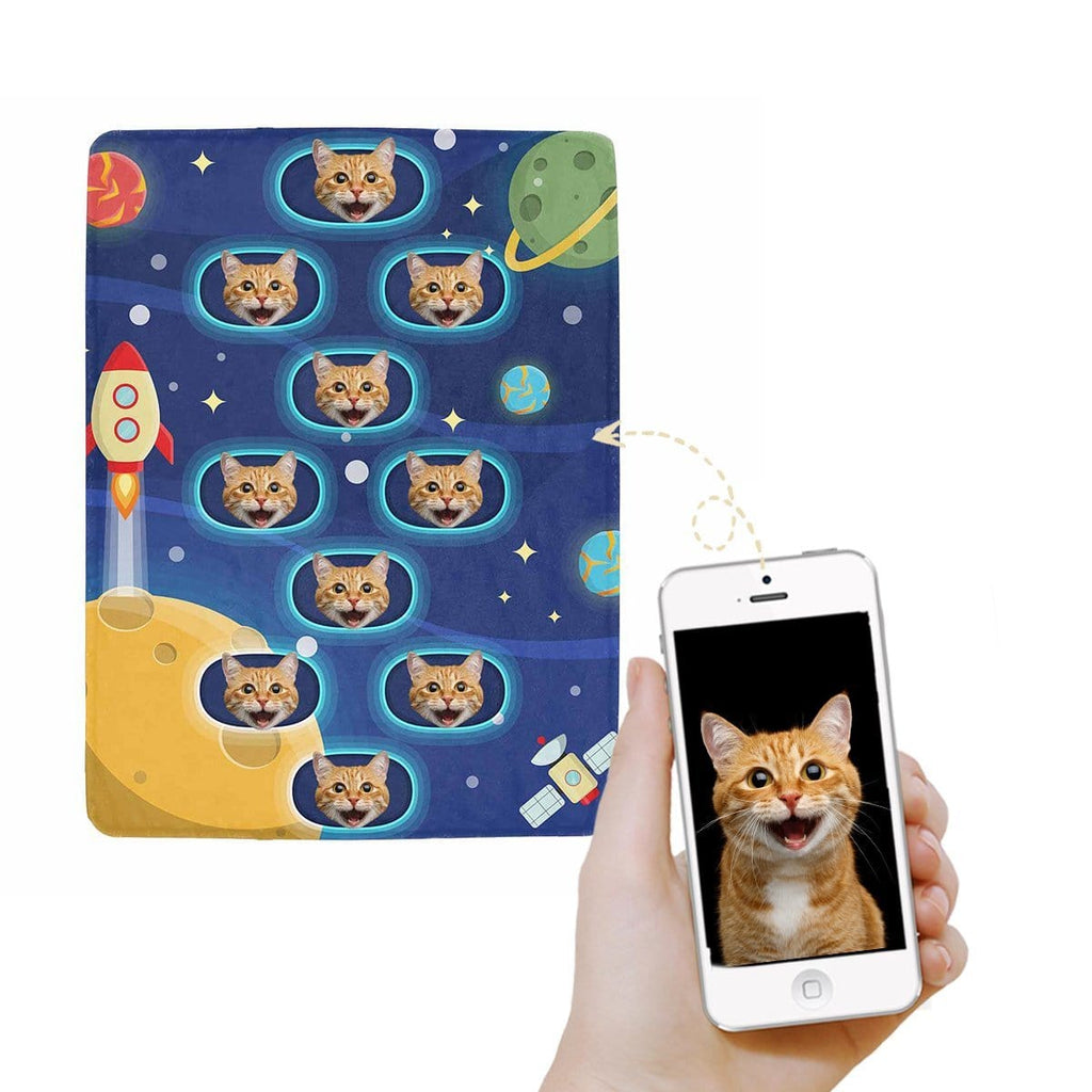 Custom Cat Face Galaxy Ultra-Soft Micro Fleece Blanket