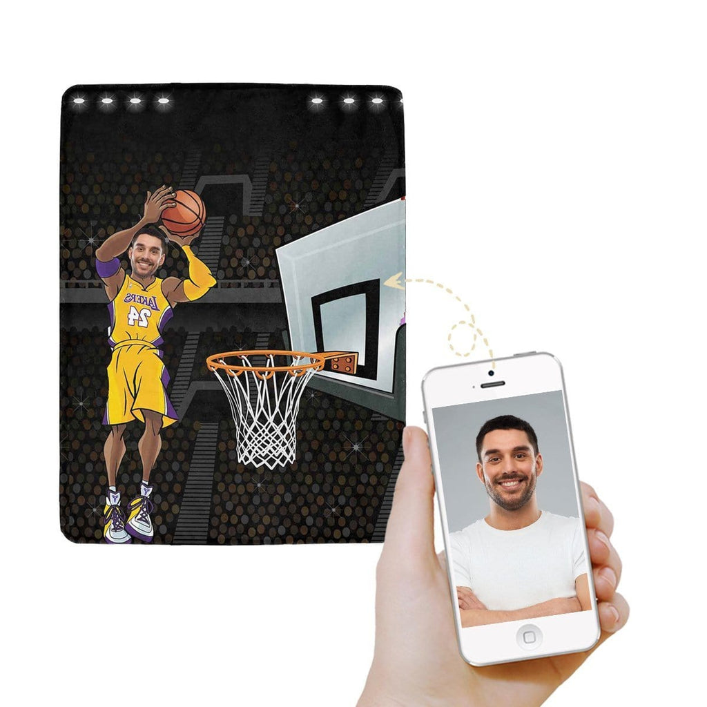 Custom Face Basketball Ultra-Soft Micro Fleece Blanket