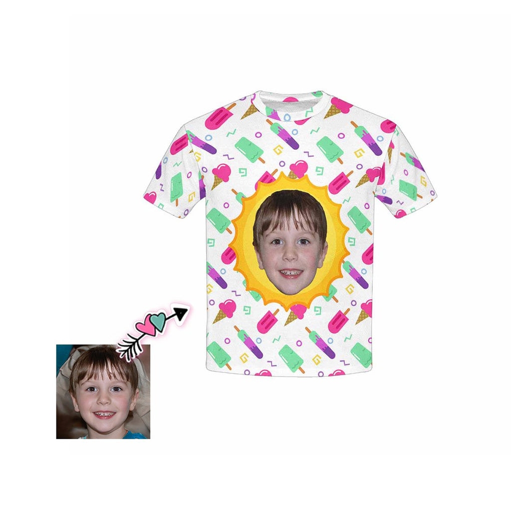 Custom Face Ice Cream Kid's All Over Print T-shirt