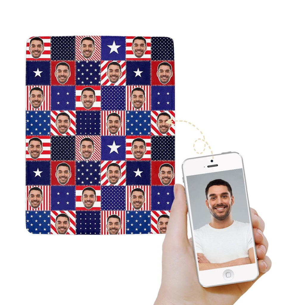 Custom Face Patchwork Flag Ultra-Soft Micro Fleece Blanket