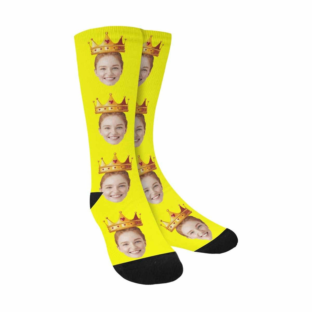 Custom Girlfriend Face Crown Yellow Sublimated Crew Socks