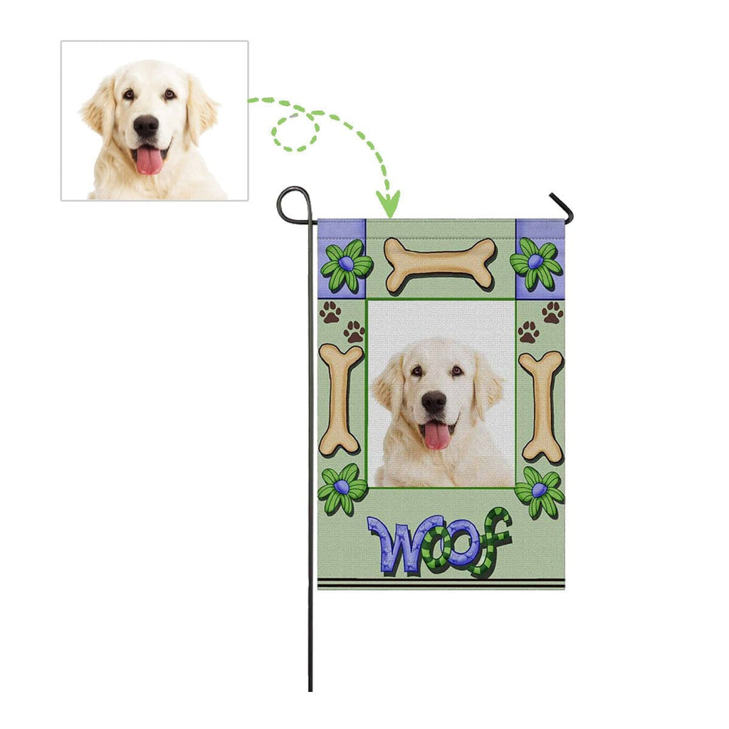 Custom Dog Face Woof Garden Flag