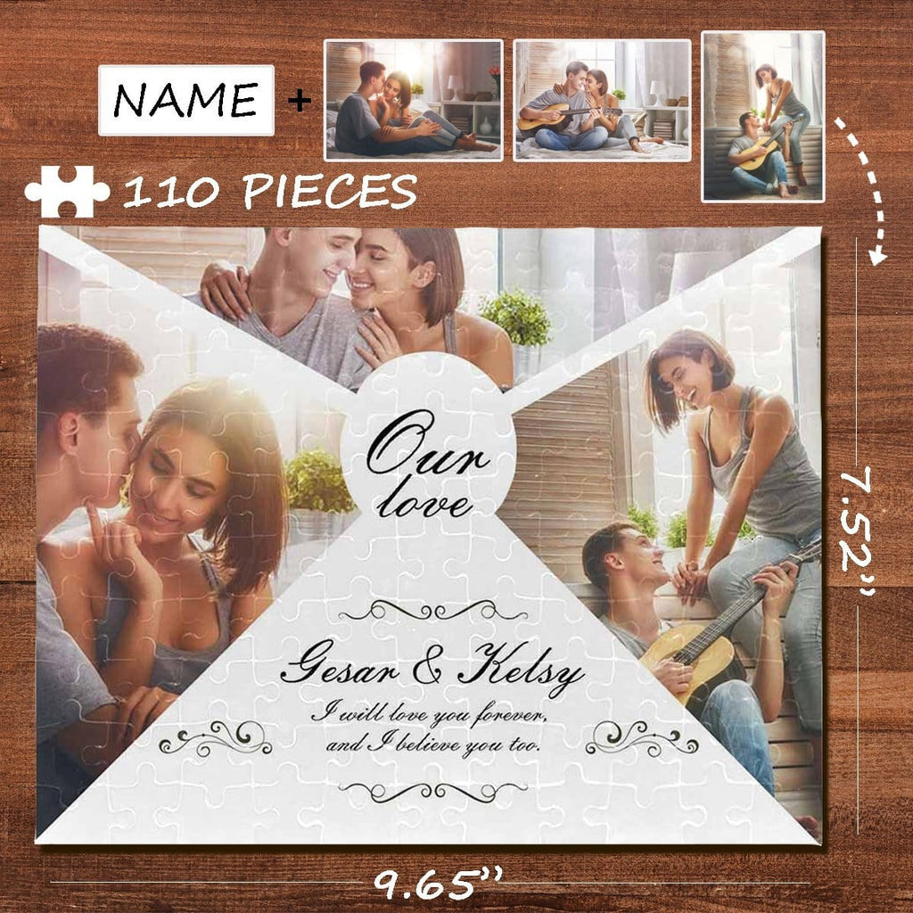 Custom Photo&Name I Will Love You Forever Rectangle Jigsaw Puzzle Best Indoor Gifts 110 Pieces