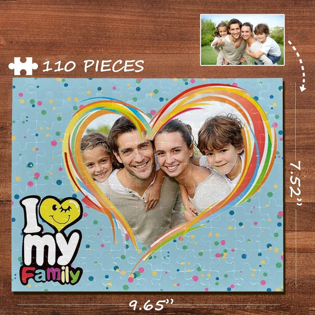 Custom Photo I Love My Family Rectangle Jigsaw Puzzle Best Indoor Gifts 110 Pieces