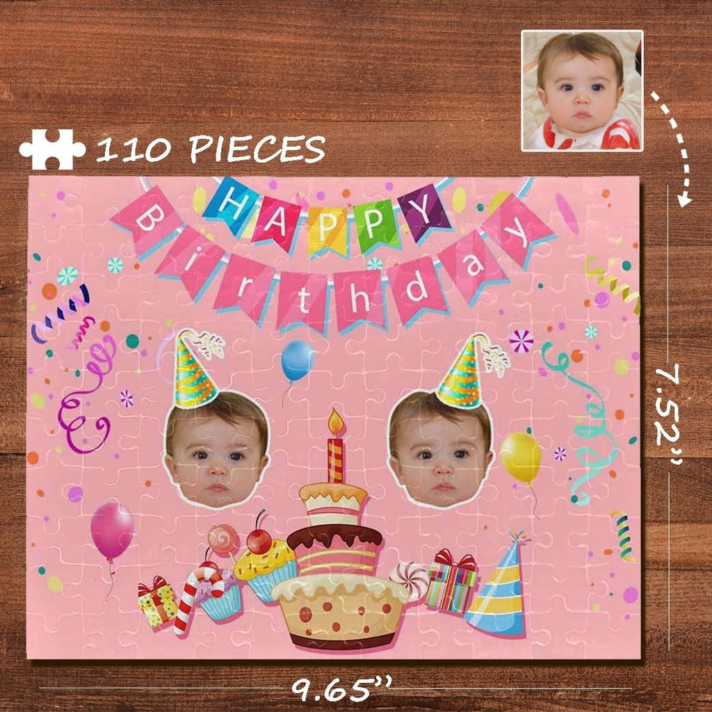 Custom Face Happy Birthday Rectangle Jigsaw Puzzle Best Indoor Gifts 110 Pieces
