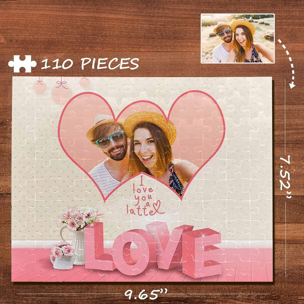 Custom Photo Pink Love Flower Rectangle Jigsaw Puzzle Best Indoor Gifts 110 Pieces