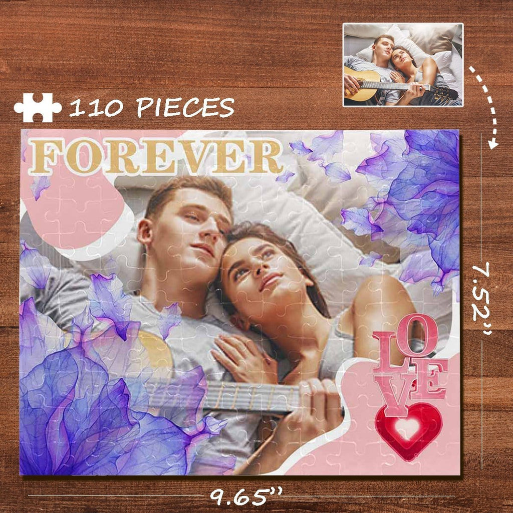 Custom Photo Purple Petals Rectangle Jigsaw Puzzle Best Indoor Gifts 110 Pieces