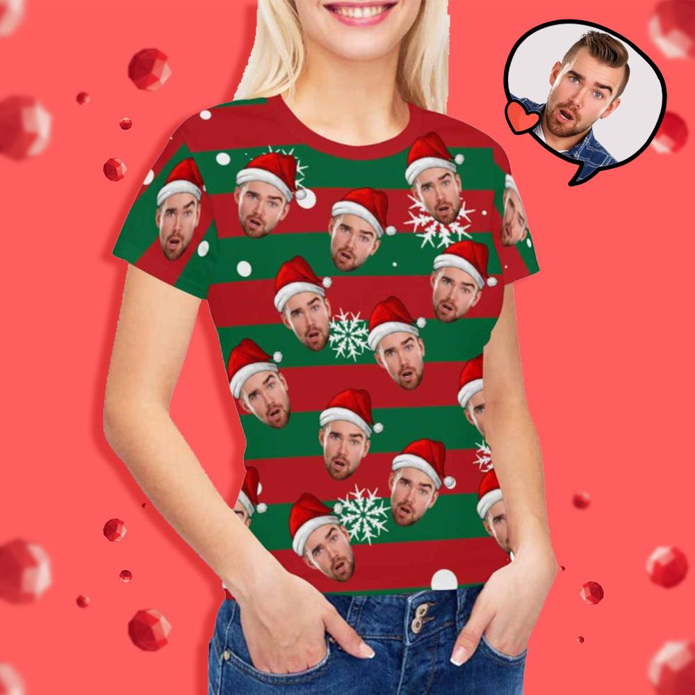 Custom Face Christmas Snowflake Women's T-shirt