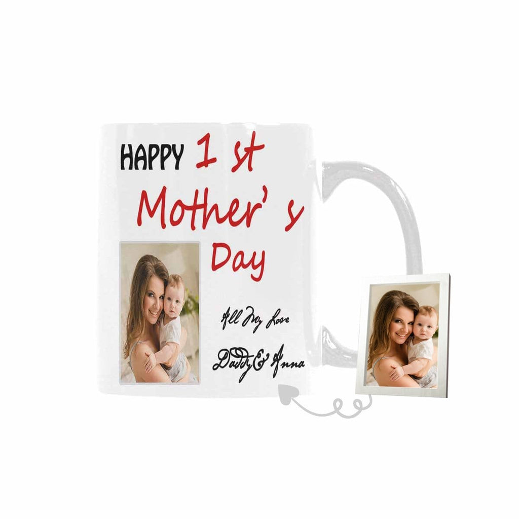 Custom Photo Name Mother's Day Classical White Mug