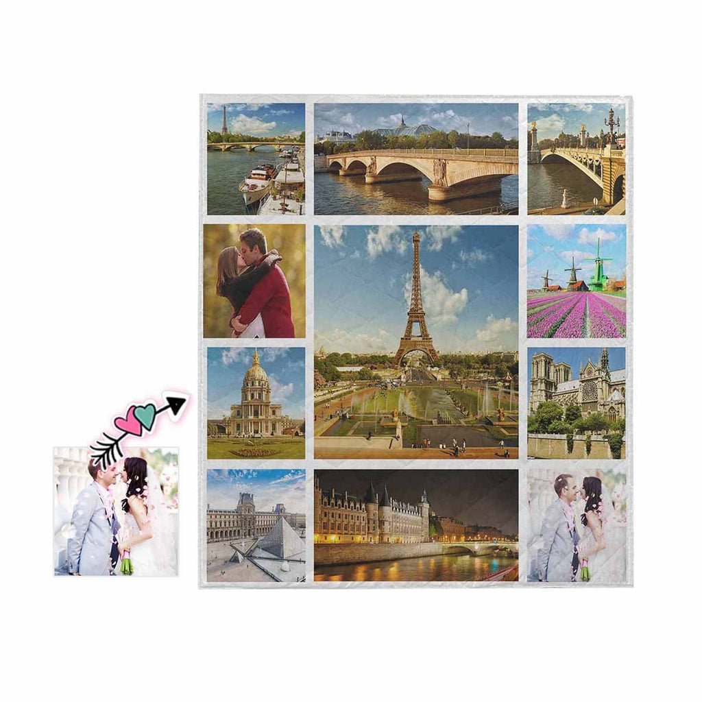 Custom Photo Travel Around the World Quilt