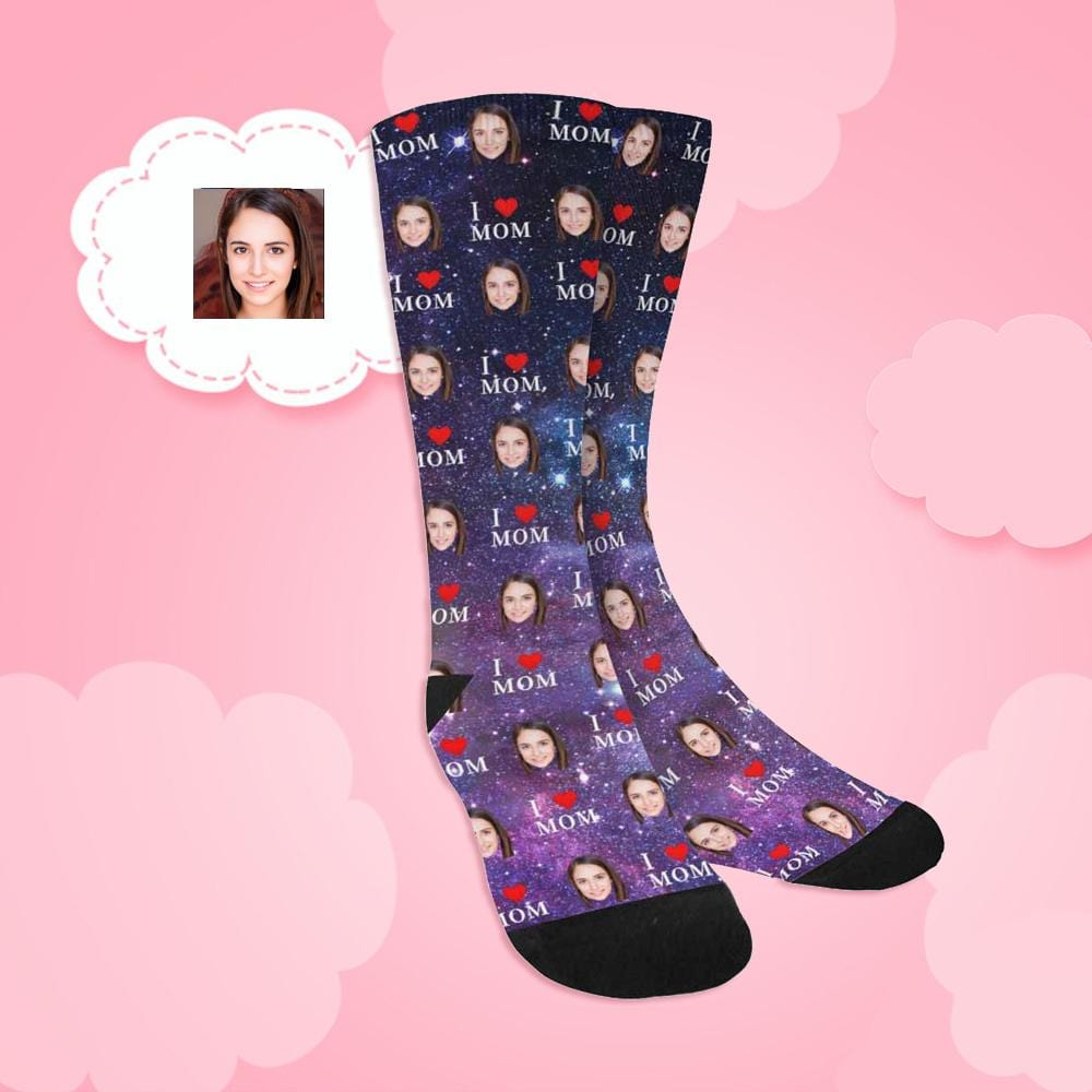 Custom Face I Love Mom Galaxy Space Sublimated Crew Socks