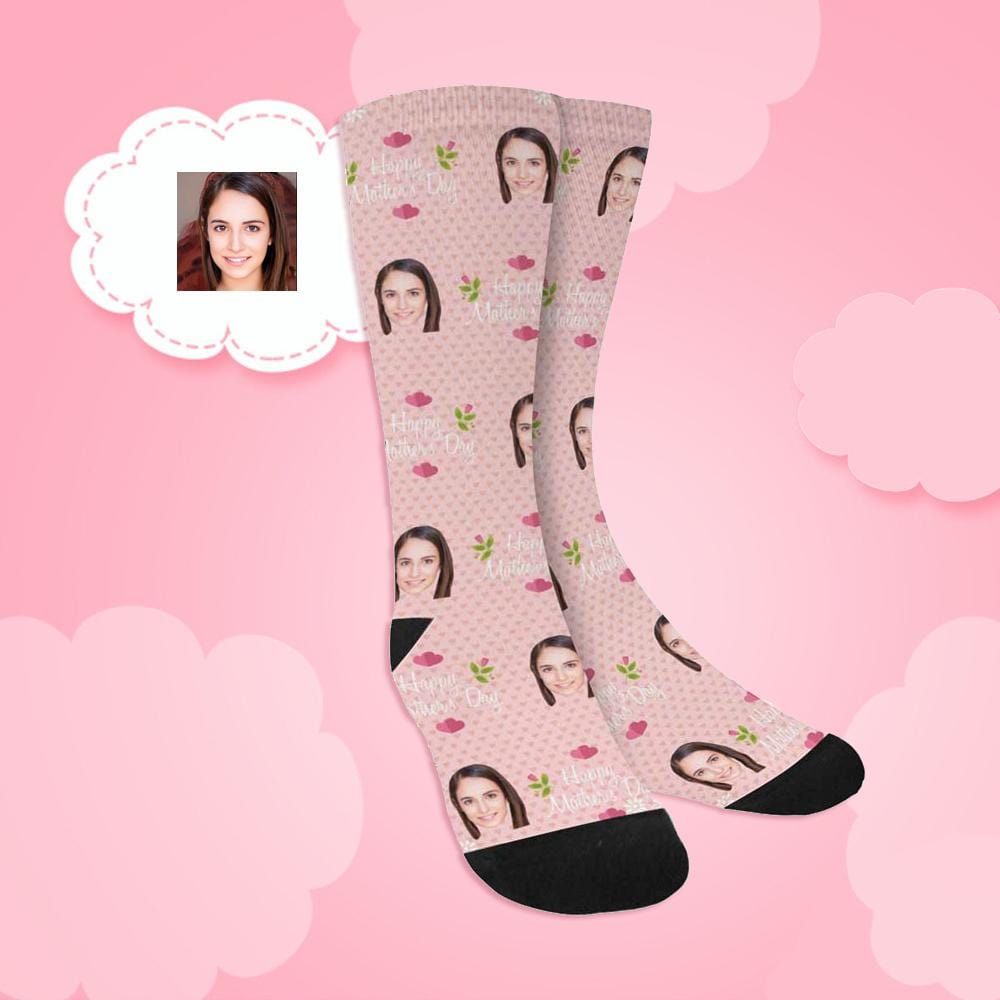 Custom Face Happy Mother's Day Sublimated Crew Socks