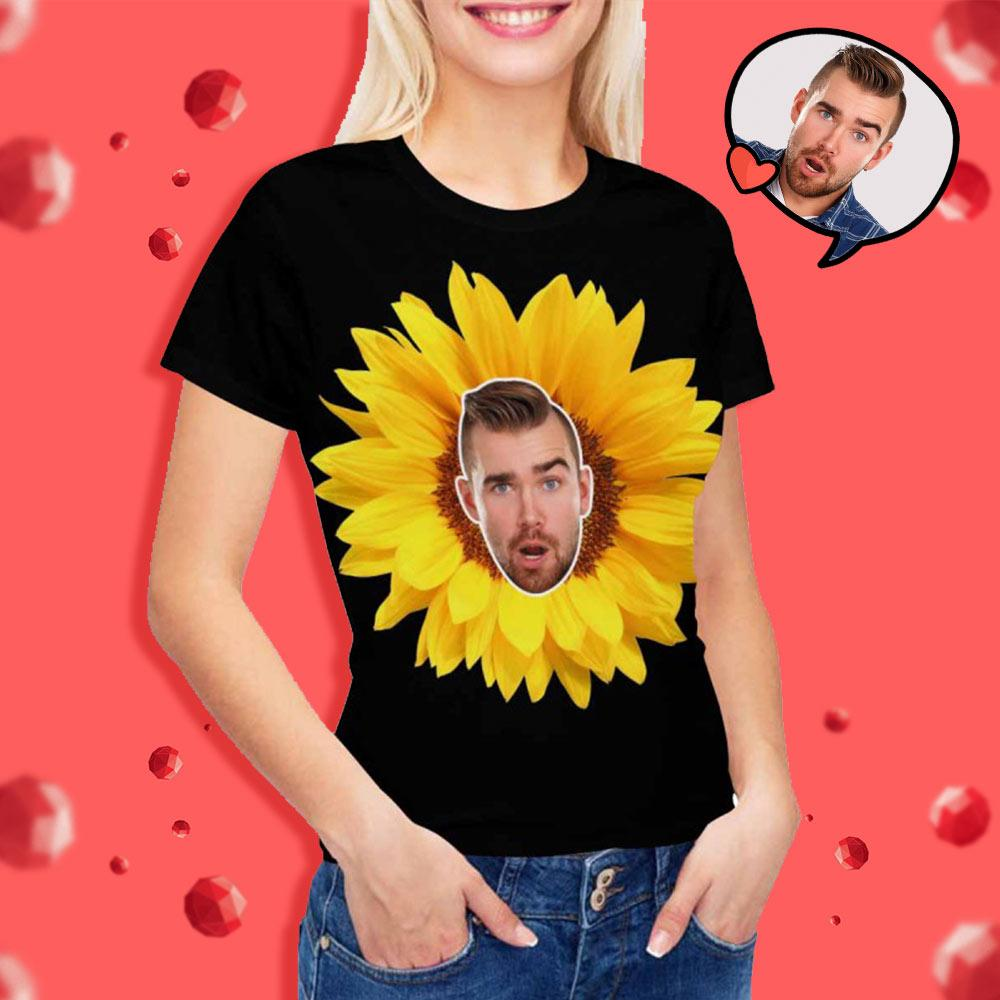 Custom Face Sunflower Women's T-shirt