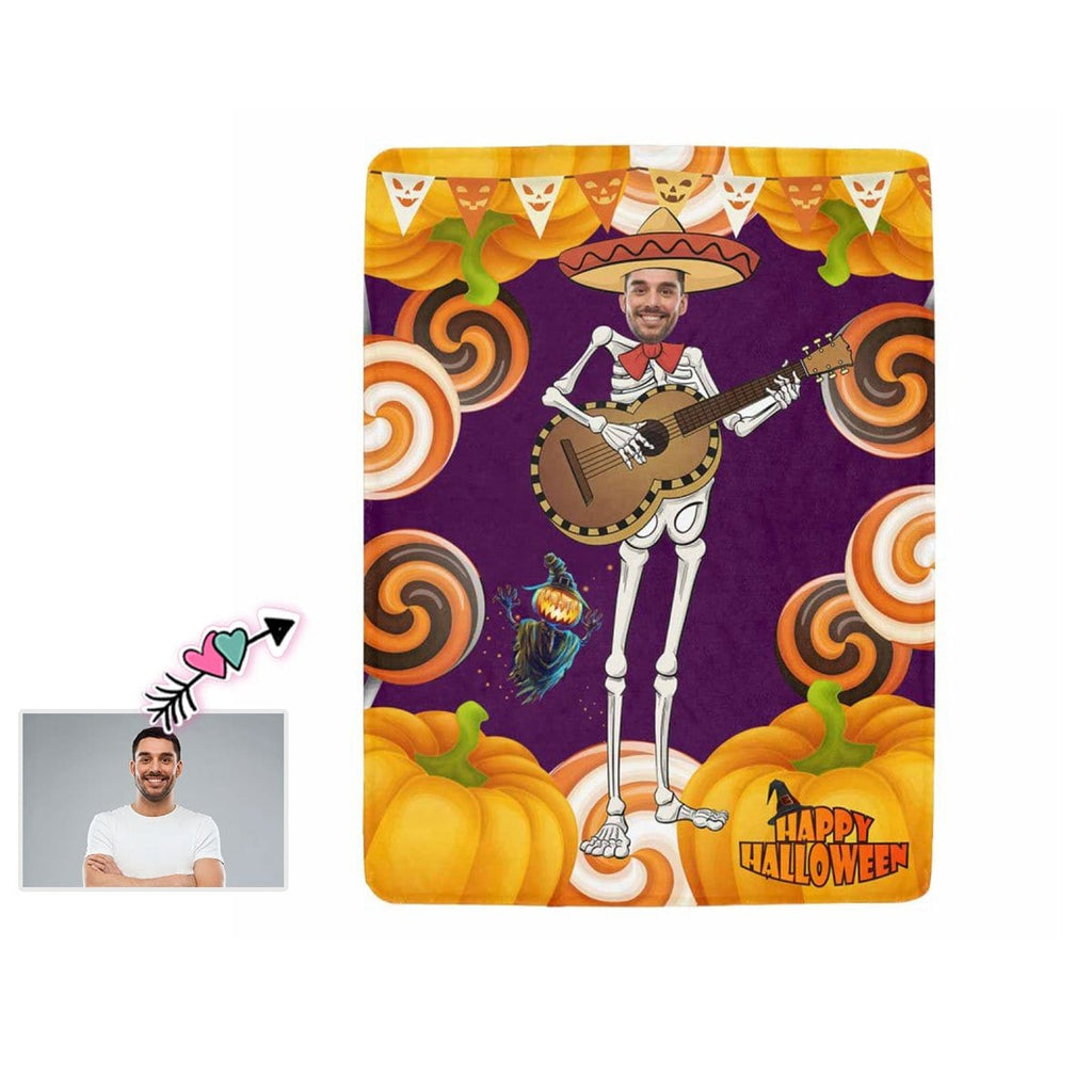 Custom Face Happy Halloween Ultra-Soft Micro Fleece Blanket
