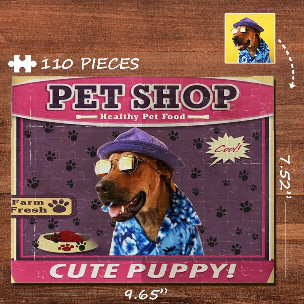Custom Photo Pet Shop Rectangle Jigsaw Puzzle Best Indoor Gifts 110 Pieces