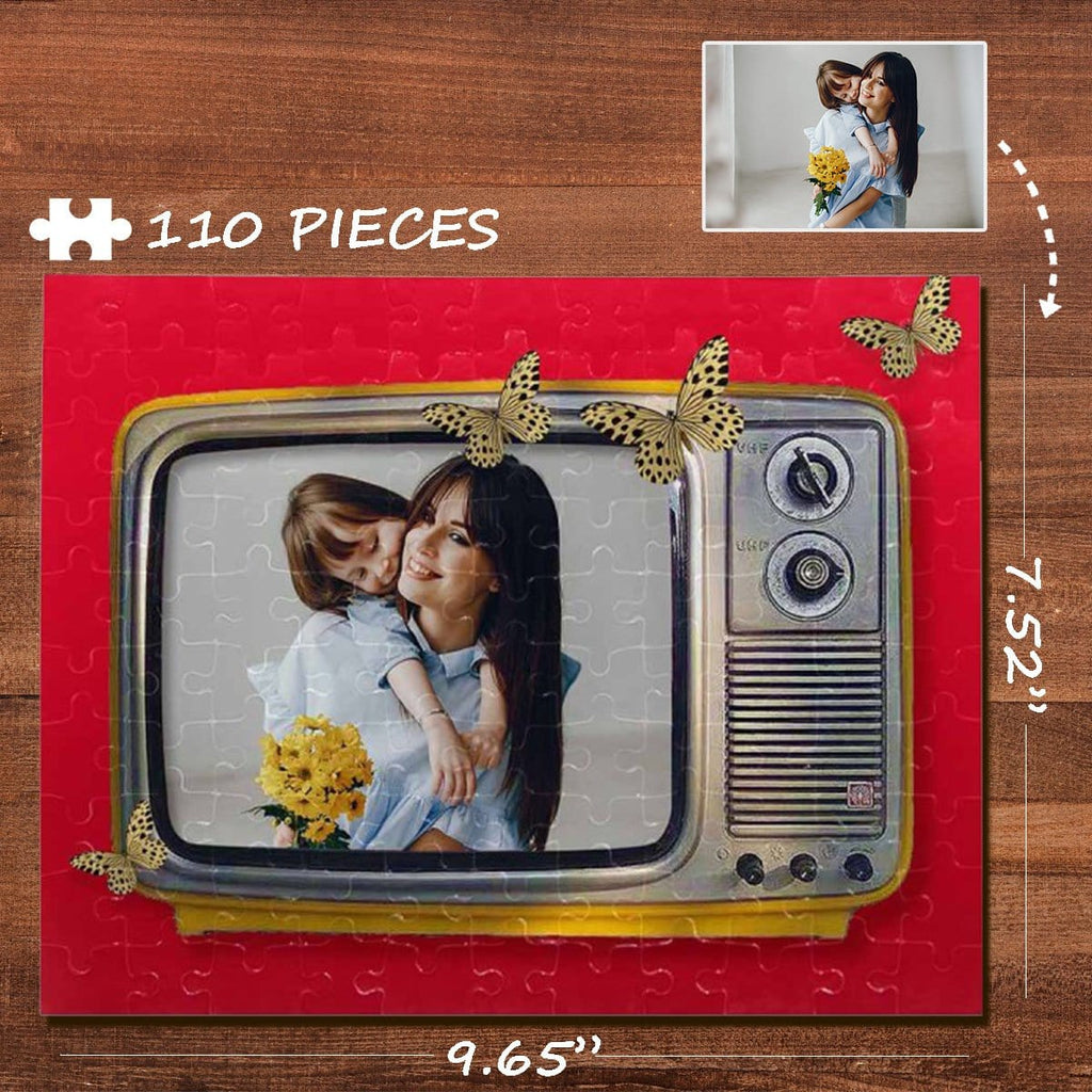 Custom Photo Red TV Rectangle Jigsaw Puzzle Best Indoor Gifts 110 Pieces