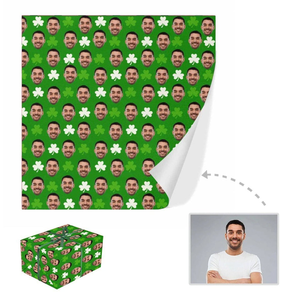 Custom Face White Clover Gift Wrapping Paper
