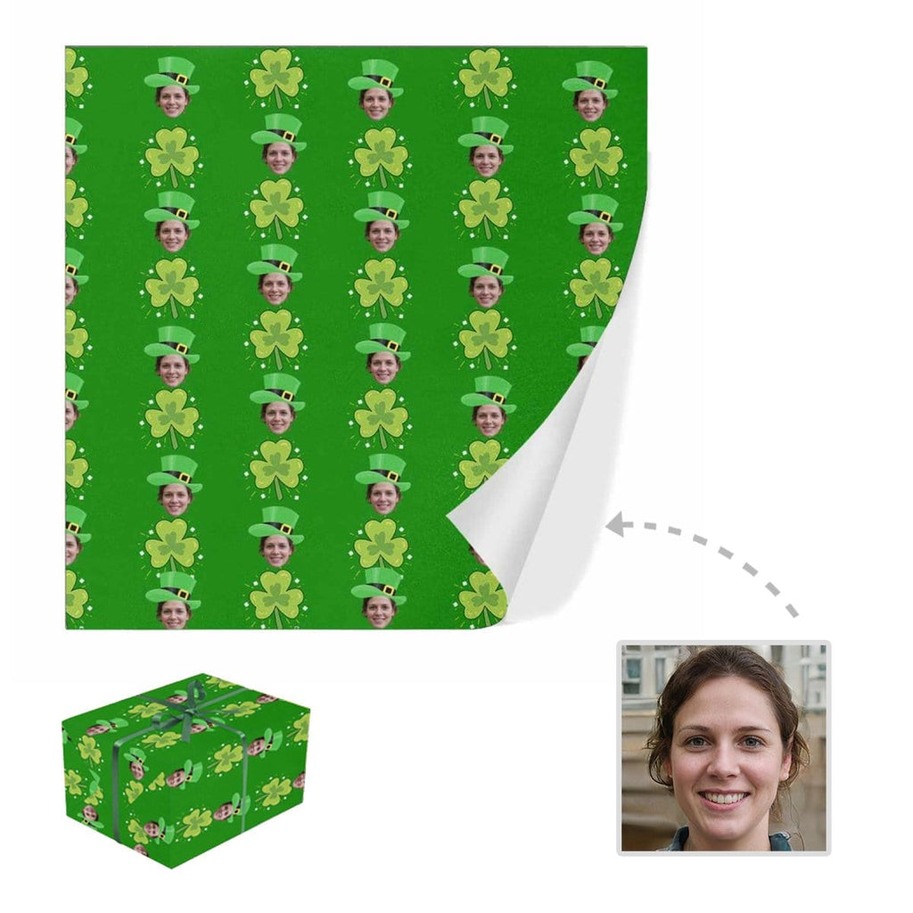 Custom Face Green Hat Clover Gift Wrapping Paper