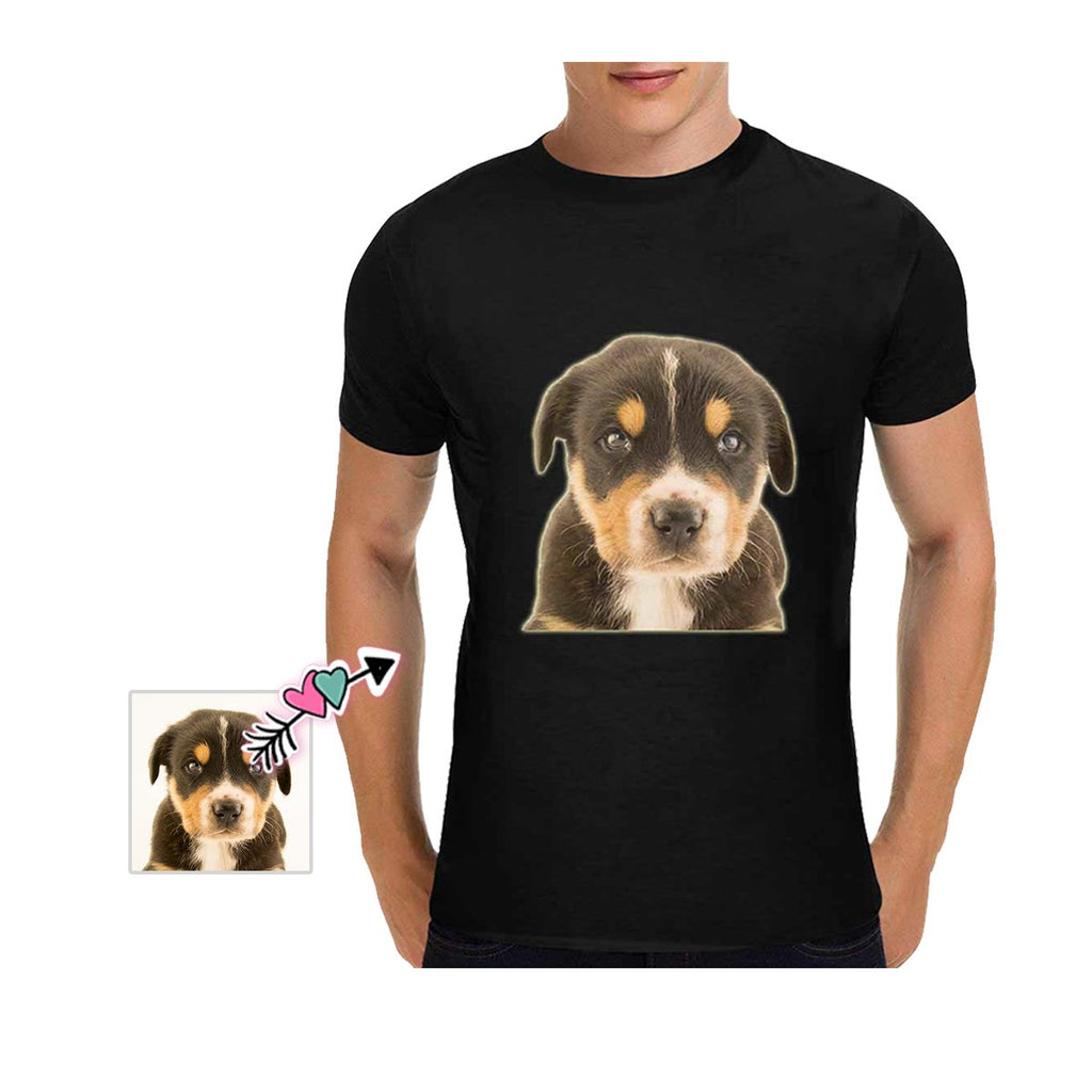 Custom Dog Face Black Classic Men's T-shirt