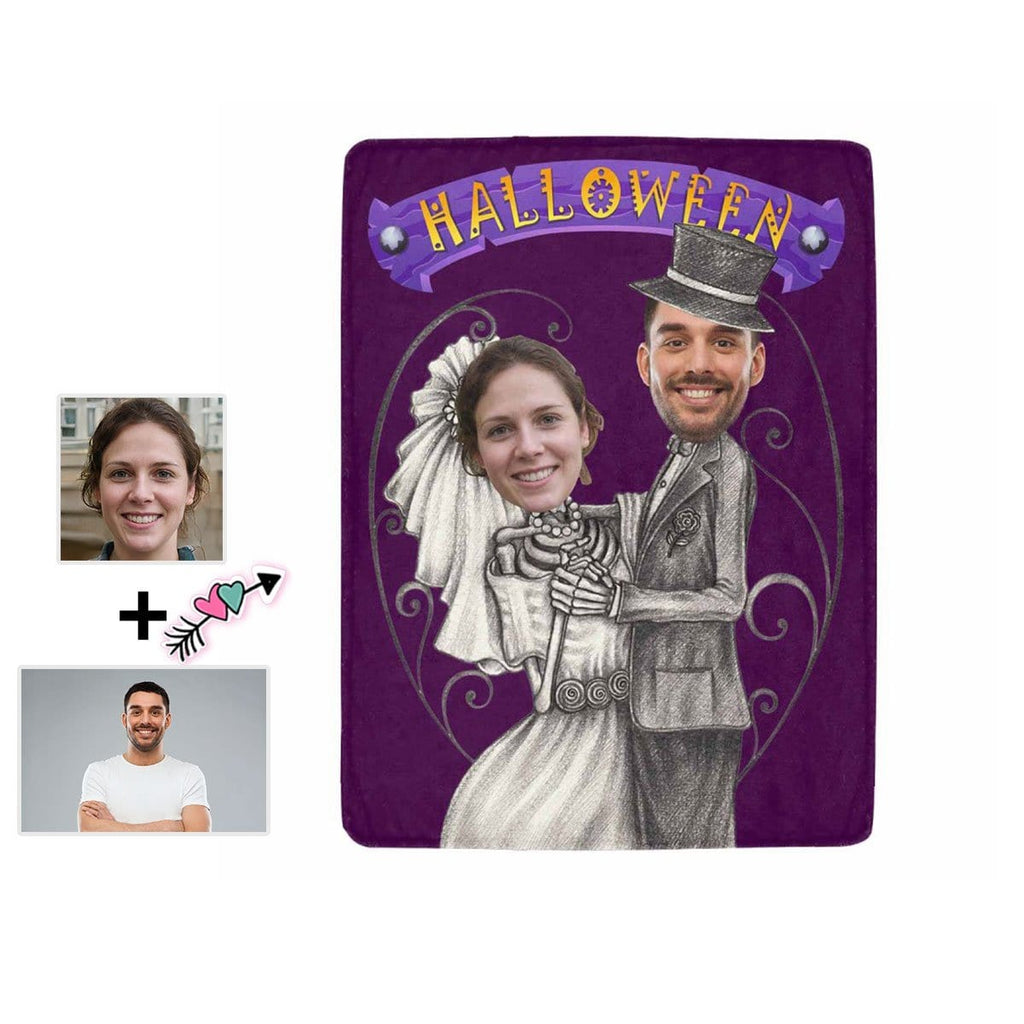 Custom Face Halloween Bride Ultra-Soft Micro Fleece Blanket